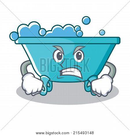 Angry bathtub character cartoon style vector illustration