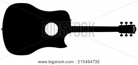 A typical acoustic guitar silhouette isolated over a white background.
