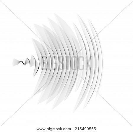 Abstract black audio spectrum waveform on white background