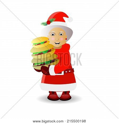 mussiss santa claus with a large three-tiered bun. illustration for your design. vector on white isolated background