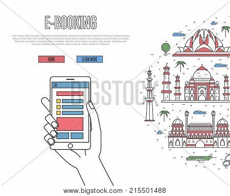 Online tickets ordering poster with indian famous architectural landmarks in linear style. E-booking vector with smartphone in hand, mobile payment concept. Asian traveling, India historic attractions