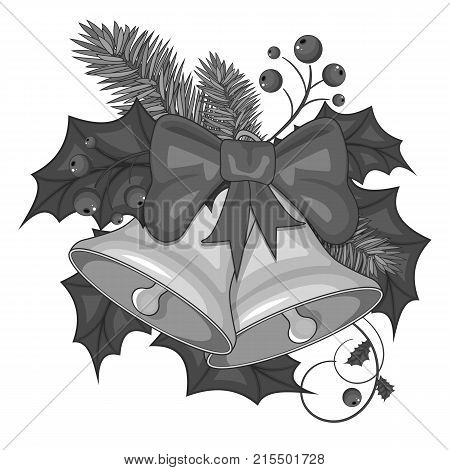 Gray illustration of cartoon Christmas bells on a white background. Stock vector.