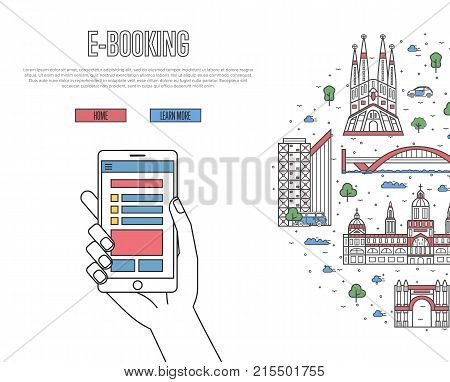Online tickets ordering poster with spanish famous architectural landmarks in linear style. E-booking vector with smartphone in hand, mobile payment. European traveling, Spain historic attractions
