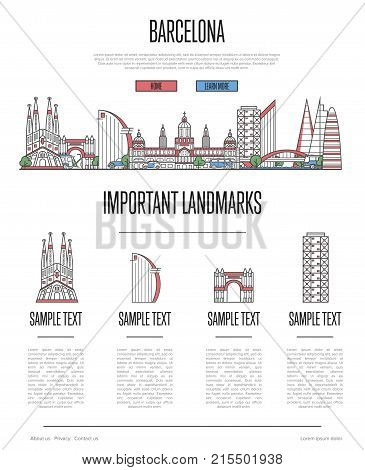 Barcelona travel infographics with most important architectural attractions in trendy linear style. Barcelona city historic landmarks on white background. Spanish traveling and journey vector concept.