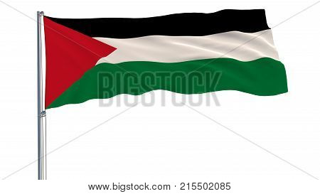 Isolate Flag Of Palestine On A Flagpole Fluttering In The Wind On A White Background, 3D Rendering.