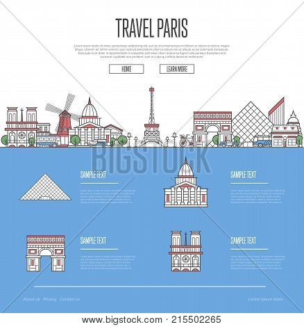 Paris city travel vacation guide with most important architectural attractions in trendy linear style. Parisian skyline with national famous landmarks. Worldwide traveling and journey vector concept