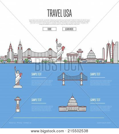 Country USA travel vacation guide with most important architectural attractions in trendy linear style. American skyline with national famous landmarks. Worldwide traveling and journey vector concept.