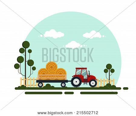Flat red tractor with a cart hay. The agricultural machinery transports for farm with haystack - vector illustration. Farming landscape.