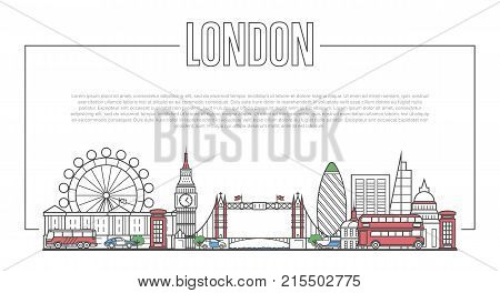 London city landmark panorama with famous modern and ancient architecture in trendy linear style. London national landmarks on white background. Worldwide traveling and journey vector concept.