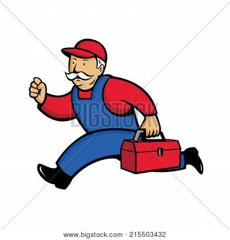 Cartoon style illustration of an aircon technician Air Conditioning Service Technician mechanic or repairman running with toolbox viewed from side on isolated background.
