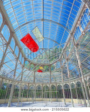 Indoor View Of Crystal Palace (palacio De Cristal) In Buen Park Del Retiro (parque De El Retiro) In