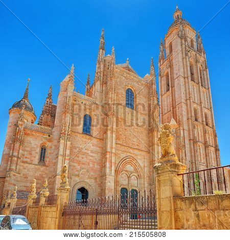 Landscape Of The Cathedral Of Segovia, And Main Square (plaza Major).
