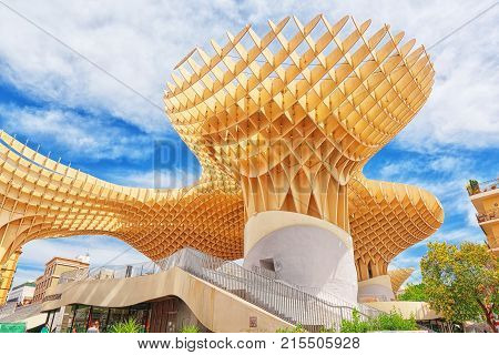 Metropol Parasol Is A Wooden Structure Located At La Encarnacion Square, In The Old Quarter Of Sevil