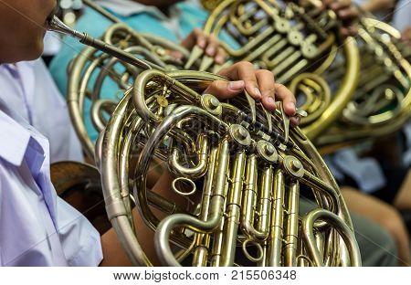 Close up of Horn musical instrument part of classic music band when rehearsal musical concept