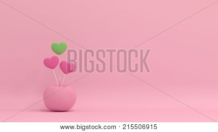 hearts valentines day live together conformity and different concept on pastel backgroundlove colorful picture for copy space minimal object concept pastel colorful lovely picture art 3D illust