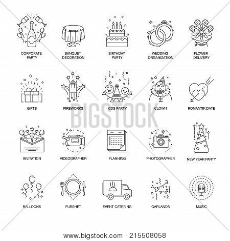 Event and party or corporate entertainment thin line icons. Vector isolated set for wedding, birthday or kids new year party celebration organization service and buffet catering, fireworks or flower delivery