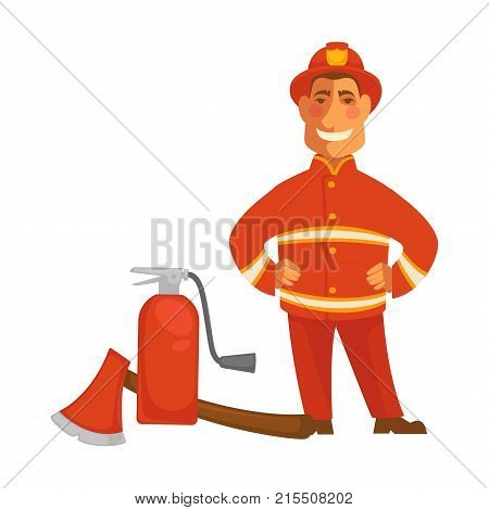 Fireman or firefighter in uniform with fire extinguishing equipment of extinguisher and ax. Vector flat isolated icon of professional firefighting or fire protection design
