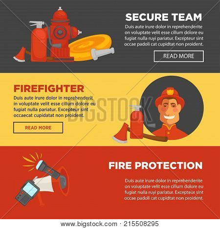 Fire protection and firefighter team of fire security web banners flat design template. Vector fire extinguisher, water hydrant hose and engine car or siren and fire extinguishing equipment tools