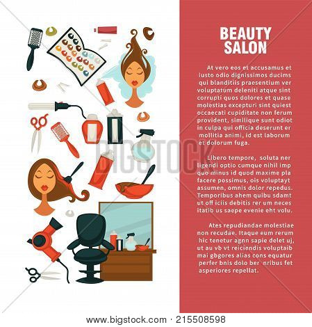 Hairdresser beauty salon information flat design template for hair coloring and haircut perm styling. Vector professional coiffeur equipment hair dye, hairdressing scissors or hairbrush comb and dryer