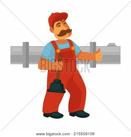 Plumber worker repair sewerage pipeline of kitchen, bathroom or toilet. Vector isolated flat icon of plumber equipment working tool for house plumbing service