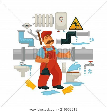 Plumbing equipment and plumber work tools for kitchen or bathroom and toilet sewerage leakage repair. Vector poster and icons of plumbing wrench for water tap, toilet plunger and sink