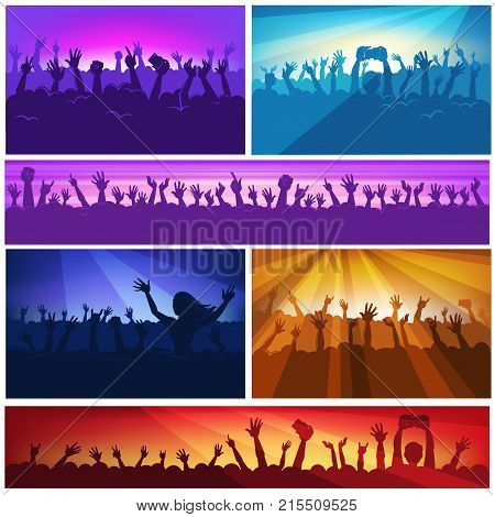 People at party festival or music concert hall with hands up applauding and making photo on smartphone. Vector banner background with people crowd silhouettes on music scene or concert stage in light