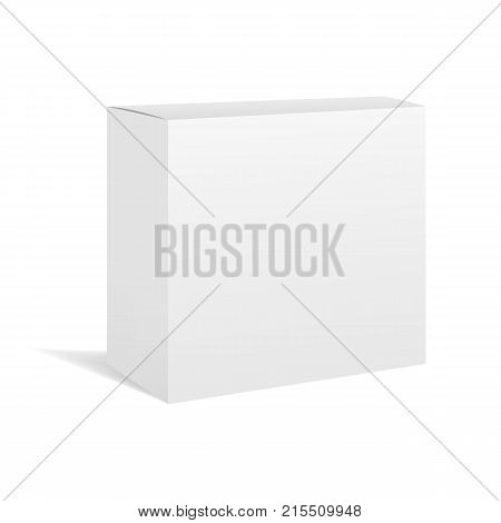 White vector realistic square box package mockup for your design. Blank rectangular container or cardboard template for cosmetic medicine software appliance products