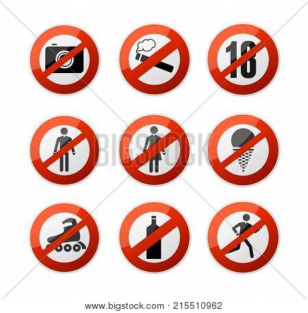 Realistic 3d Detailed Stop Signs Icons Set Forbidden, Warning, Restrict and Caution Elements Alcohol, Cigarette, Ice Cream, Run Ban. Vector illustration