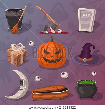 Halloween party cartoon icons set. Potion cauldron, witch hat, coffin, rip gravestone, witch broom, executioner ax, halloween pumpkin head jack lantern, moon vector illustration. Festive horror event