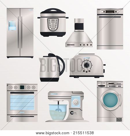 Kitchen electronic appliances icon set. Refrigerator, washing machine, toaster, electric kettle, air extractor, oven, multi cooker, kitchen mixer. Household devices isolated vector illustrations.