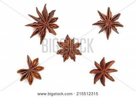 Star anise isolated on white background. Top view.