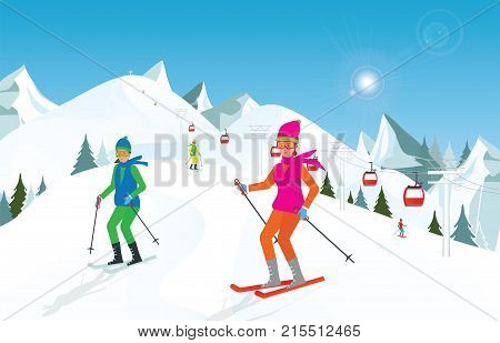 Couple skiing in the mountains against blue sky Winter sport and recreationwinter holiday vacation and Ski resort concept vector illustration.
