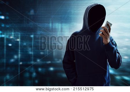 Unknown hacker using mobile phone to calling