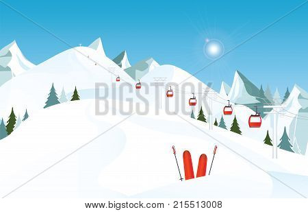 Winter mountain landscape with pair of skis in snow and ski lift against blue sky winter holiday vacation and skiing concept vector illustration.