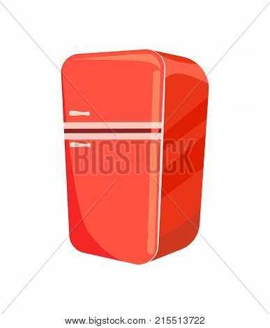 Red refrigerator isolated vector icon. Classic couch label, home furniture element vector illustration
