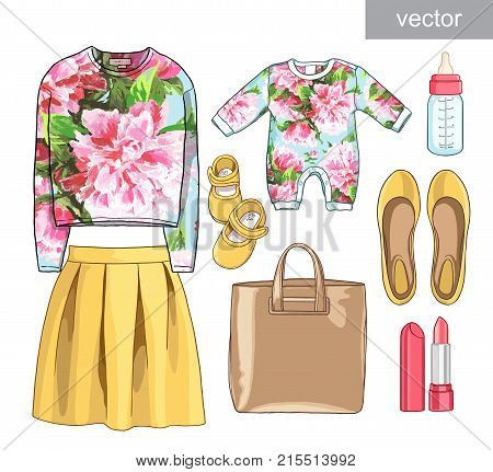 Vector. Lady fashion set of spring season outfit. Illustration stylish and trendy clothing. Family Look. Mother with baby. Skirt, sweatshirt, bag, accessories, overalls, baby, newborns, clothes for children, a bottle of milk, a nipple, booties.
