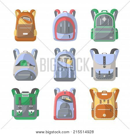 School backpack icon set. Camping and travel backpack vector illustration isolated on white background. Tourist back pack, camp knapsack, hike bag, mountain hiking equipment in flat design.