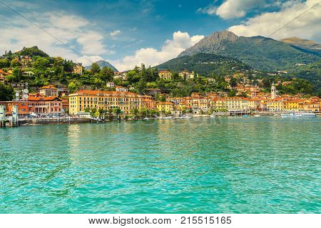 Fantastic touristic place summer holiday resort with colorful buildings Menaggio Lake ComoLombardy region Italy Europe