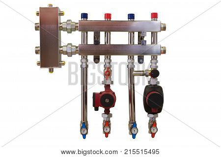 Main Control manifold of house heating system isolated on white