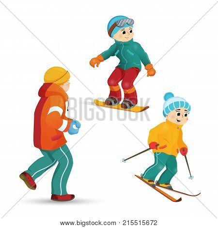 Boys having fun in winter - skiing, snowboarding, playing snowballs, cartoon vector illustration isolated on white background. teenage boys skiing, snowboarding, playing snowballs in winter