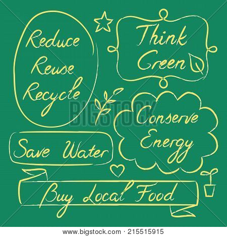 Set of hand drawn ecology lettering - Reduce Reuse Recycle, Save water, Think green, Conserve Energy, Buy Local Food