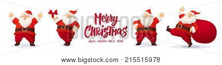 Set of cartoon Christmas illustrations isolated on white. Funny happy Santa Claus character with gift, bag with presents, waving and greeting. For Christmas cards, banners, tags and labels.