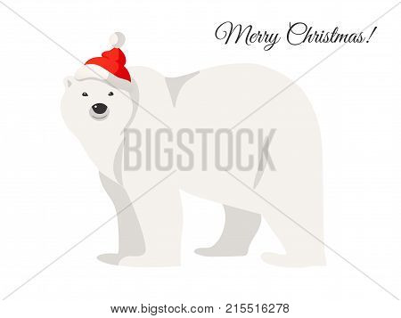 Merry Christmas card. Illustration of white polar bear in Santa red hat isolated on white. Walking or standing polar bear, side view. Great for Christmas and New Year posters, banners, gift tags and labels.