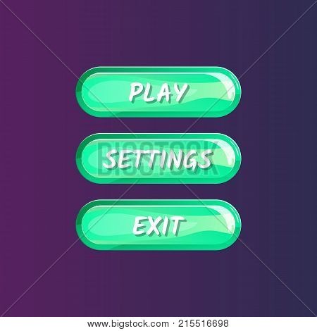 Green board for game menu interface. Play, settings and exit buttons. Bright user options selection, windows panel vector illustration