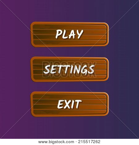 Brown options selection windows set in cartoon style. Play, settings and exit buttons. Bright user game design isolated vector illustration