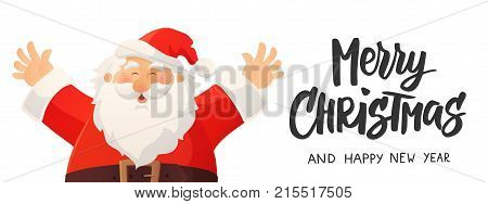 Christmas banner with funny cartoon Santa Claus. Merry Christmas hand drawn text. Red Santa hat and beard. Great for Christmas and New Year advertising, cards, flyers, headers, gift tags and labels