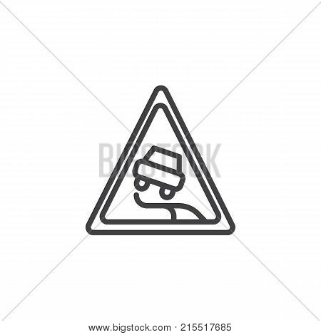 Slippery road line icon, outline vector sign, linear style pictogram isolated on white. Traffic sign symbol, logo illustration. Editable stroke