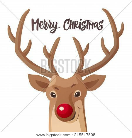 Merry Christmas card. Funny red nose reindeer. Cartoon flat illustration isolated on white. Hand drawn lettering. Great for Christmas and New Year posters, banners, gift tags and labels.