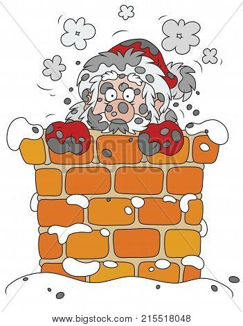 The night before Christmas, sooty Santa Claus looking out of a chimney