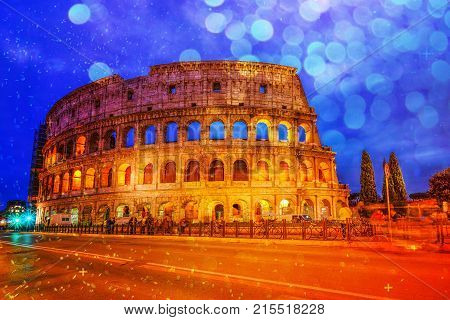 Colosseum in Rome, Italy during twilight time with bokeh effect